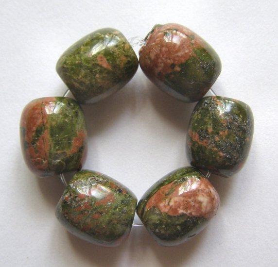 6 Unakite 14x12 Drum Beads