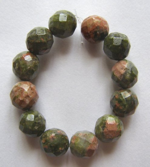 12 Unakite 8mm Faceted Round Beads