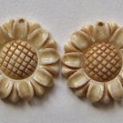 2 Carved Bone 20mm Sunflower Blossom Pendant Beads