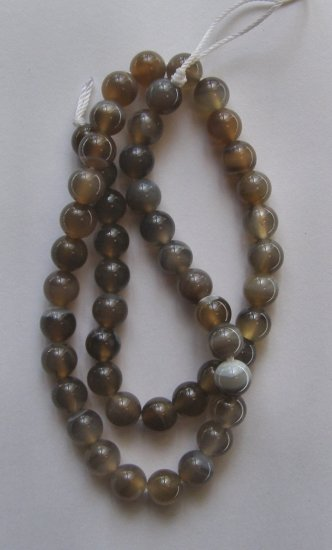 "Soft Brown Agate 9mm Round Beads 16"" strand"