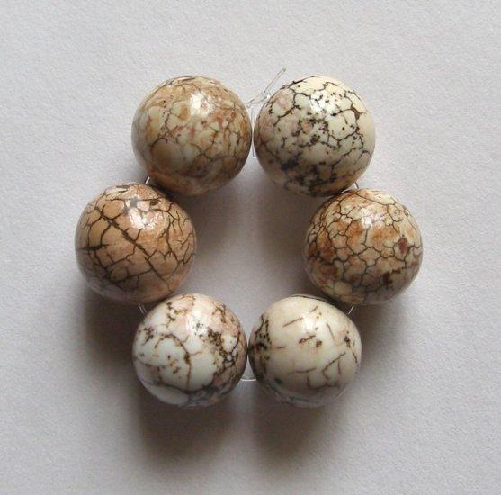 6 Terracotta Blush Magnesite 14mm Round Beads