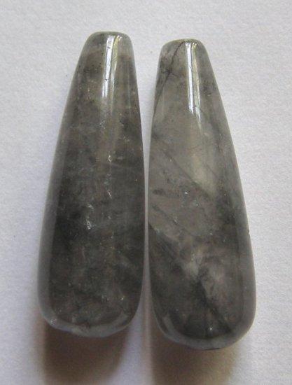 2 Grey Quartz 30x10 Full Teardrop Pendant Beads