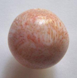 Salmon Blush Pink Flower Coral 25mm Round Pendant Bead