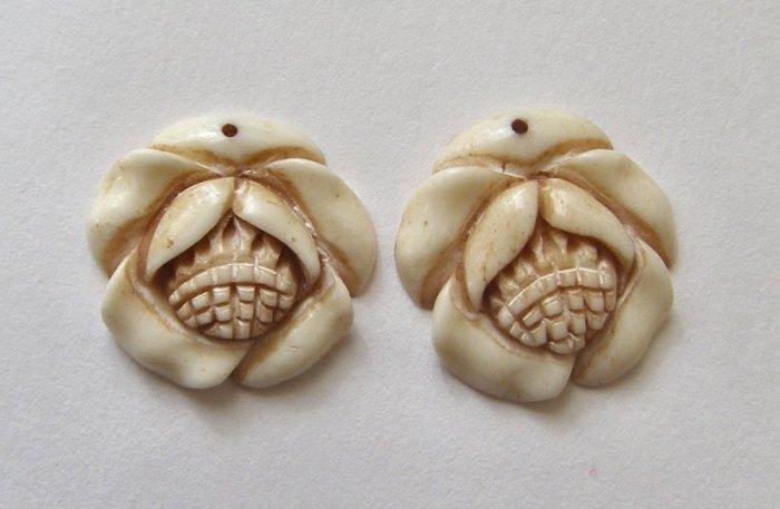 2 Carved Bone 20mm Magnolia Blossom Pendant Beads