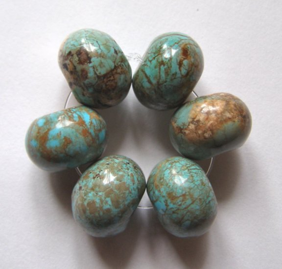 6 Turquoise Magnesite 16x12 Rondelle Beads