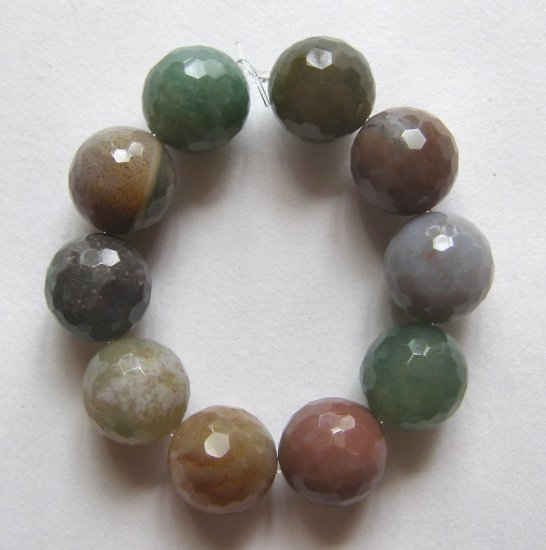 10 Fancy Jasper 10mm Faceted Round Beads