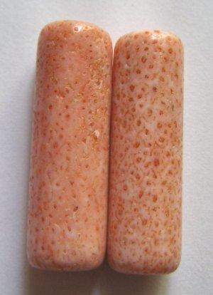 2 Salmon Blush Pink Flower Coral 38-39x12 Tube Pendant Bead