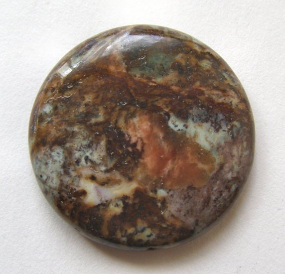 Green African Opal 35mm Disc Pendant Bead