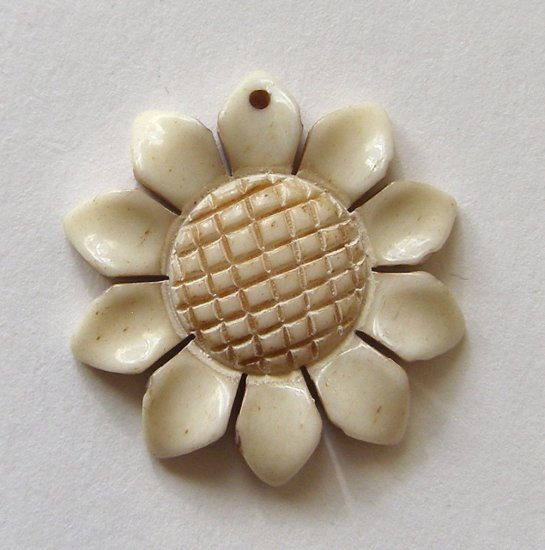 Carved Bone 24mm Sunflower Pendant Bead