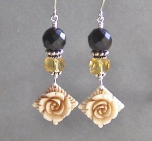 Carved Bone Rose and Jet and Citrine Artisan Made Earrings