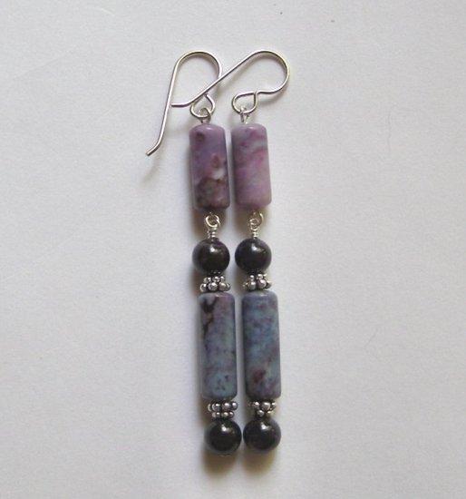 Purple Ocean Jasper and Sugilite Artisan Made Earrings