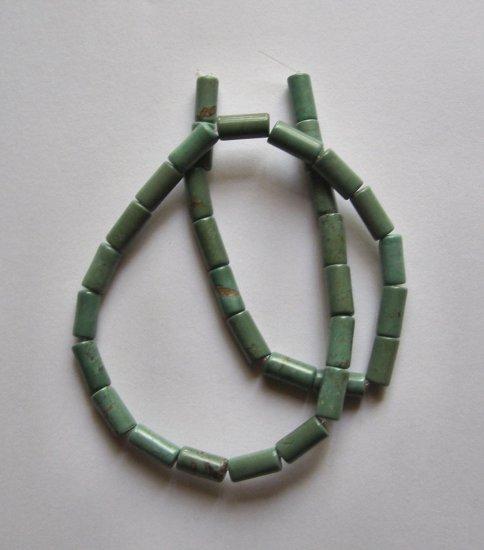 "Green Turquoise12x6 Tube Beads 15.5"" Strand"