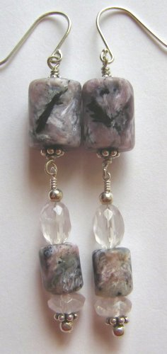 Charoite and Faceted Rose Quartz  Artisan Made Earrings