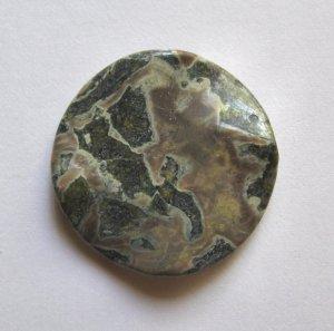 Military Jasper 40mm Wavy Disc Pendant Bead