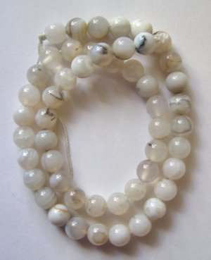 "Soft Grey Agate 8mm Round Beads 16"" strand"