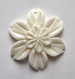 Carved Bone 30mm Poinsettia Pendant Bead