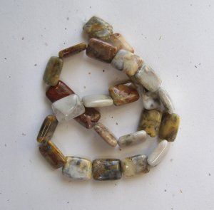 """Crazy Lace Agate 16x13 Rectangle Beads 15.5"""" strand"""