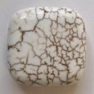 White Turquoise Magnesite 35x35 Square Pendant Bead