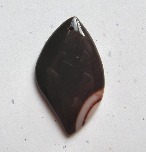 Banded Red Agate  54x32 Marquise Pendant Bead