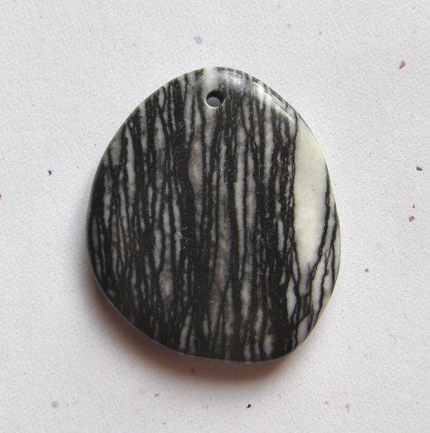 Black Stripe Picasso Jasper 45x38 Freefrom Pendant Bead