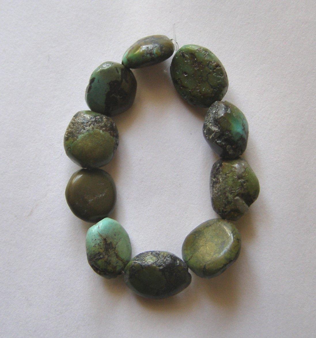 10 Native Turquoise 15x13 Pebble Beads