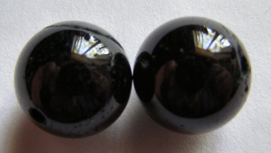 2 Black Tourmaline 16mm Round Beads