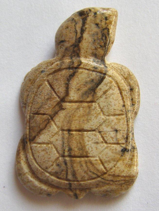 Picture Jasper 35x23 Carved Turtle Pendant Bead