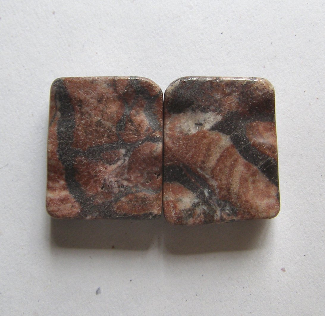 2 Red/ Black Picture Jasper 26x20 Wavy Rectangle  Bead
