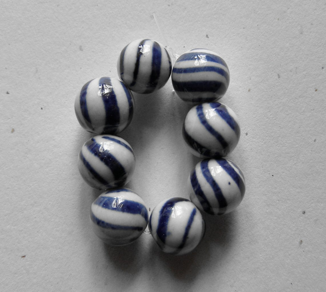 8 Porcelain Blue and White Stripe12mm Round Beads