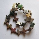 "Mixed Semi-precious Stone 16x16 Cross Beads 16""Strand"