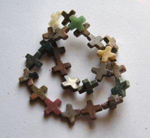 "Mixed Semi-precious Stone 16x16 Cross Beads 16""Strand"