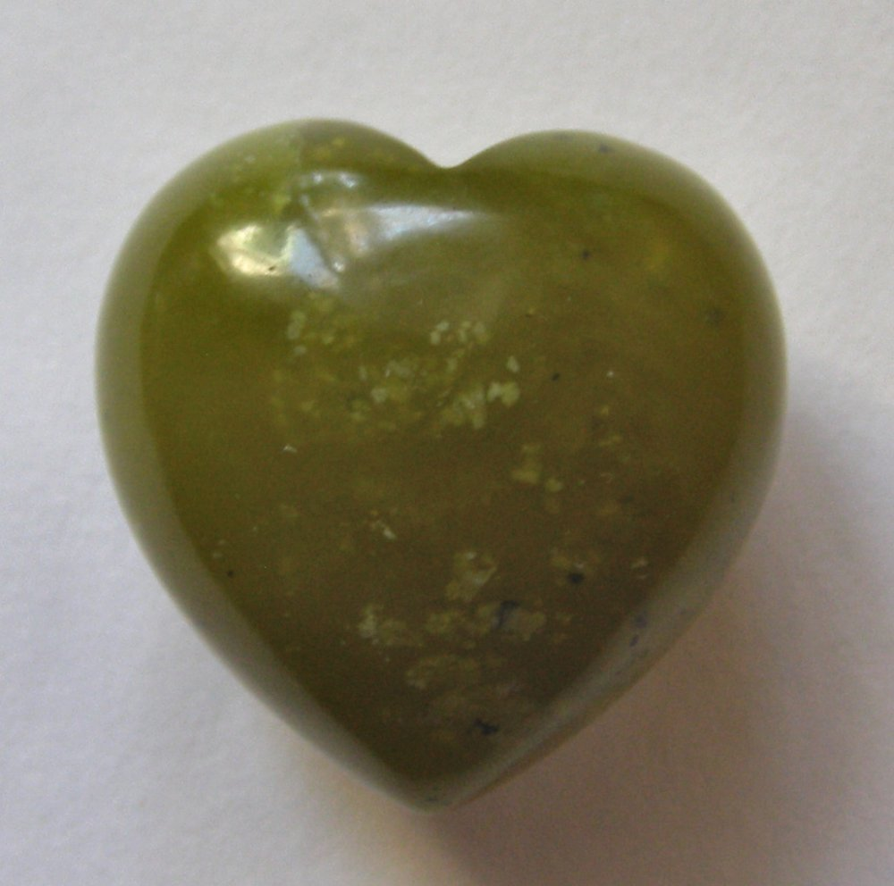 Olive Jade 29X29 Carved Heart Pocket/Wrapping Stone