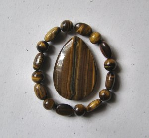 Tiger Eye Teardrop Pendant Bead Set