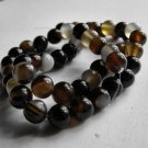 "Black Agate 8mm Round Beads 15"" Strand"