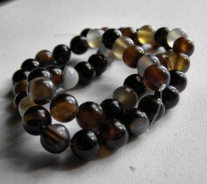 "Black Agate 8mm Round Beads 15"" Strand"