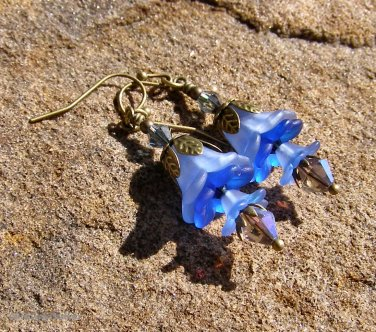 Handmade Blue Lucite Fairy Flower Earrings