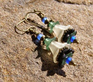 Handmade Ivory and Black Lucite Fairy Flower Earrings