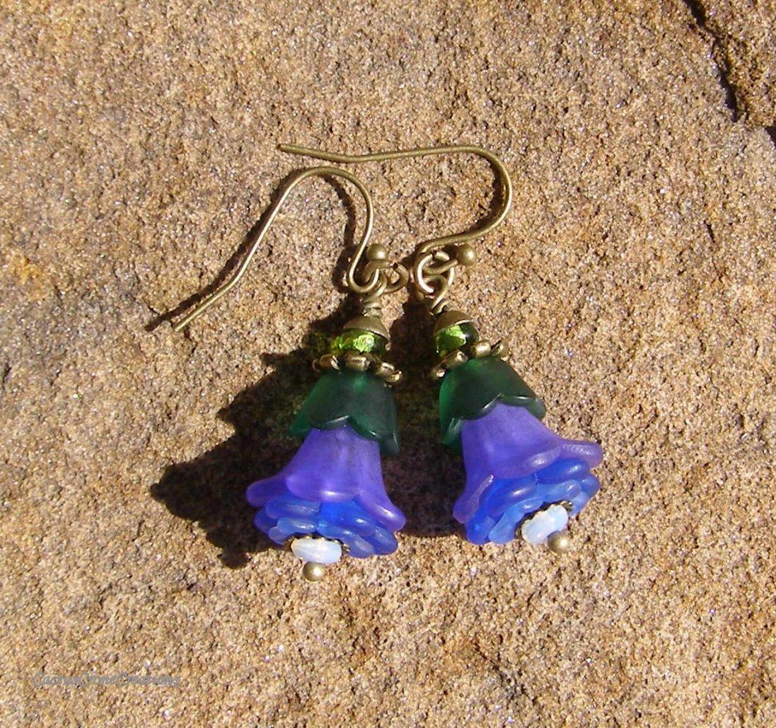 Handmade Purple and Blue Lucite Fairy Flower Earrings