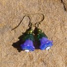 Handmade Purple and Blue Lucite Fairy Flower Earrings