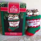 Mom and Dad Raccoons in Stocking Hallmark Christmas Ornament 1991