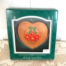 1987 Sister Wooden Hallmark Christmas Ornament Heart with Basket of Pointsettas