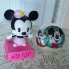 Disney 1977 Hallmark Mickey Mouse Christmas Ornament and Miss Flirt Minnie