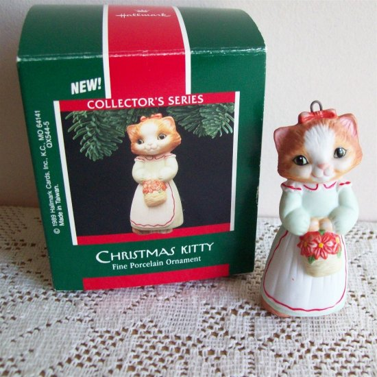 Hallmark First in Series Christmas Kitty Porcelain Ornament Cat Kitten