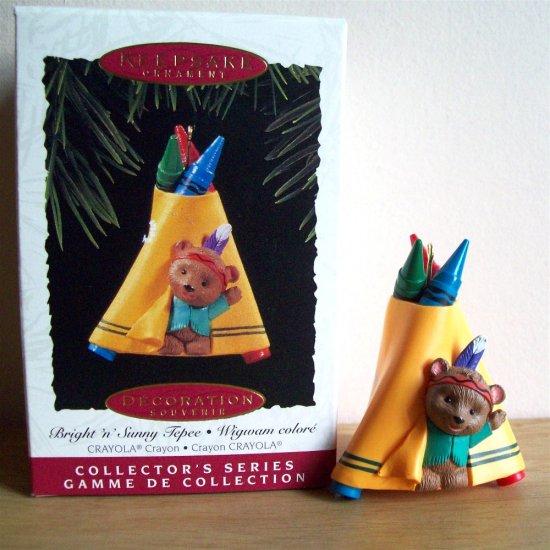 Hallmark Crayola Crayon #7 1995 Bright 'n Sunny Tepee Christmas Ornament Indian Bear