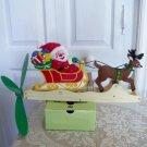 Whirlygig Mechanical Santa Sleigh with Reindeer Christmas Decor Ornament