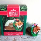 Hallmark First Christmas Ornament Foxes in Log 1990