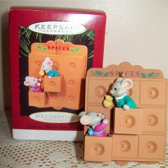 Mice in a spice cupboard Hallmark 1995 Christmas Ornament Sister