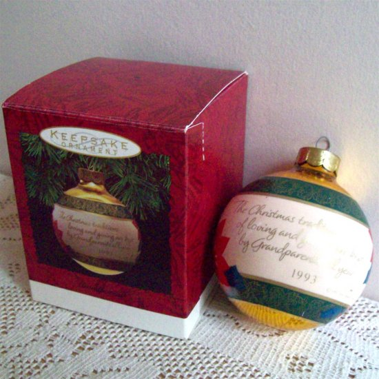 Hallmark 1993 Grandparents Glass Ball Christmas Ornament