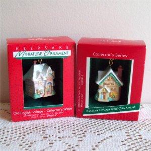 Old English Village 1st and 2nd Hallmark Miniature Series Christmas Ornaments