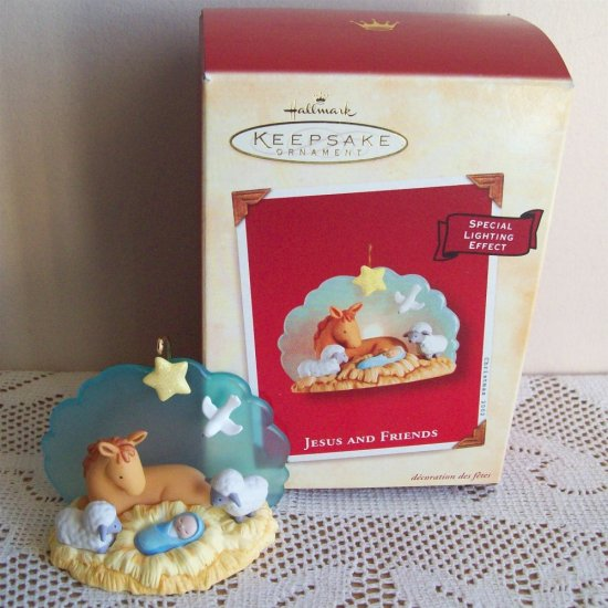 christmas ornaments to make jesus and friends hallmark ornament light 2002 31671